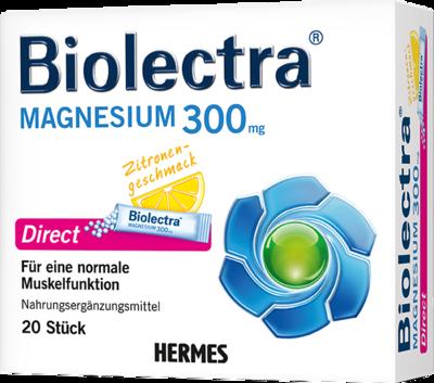 HERMES Arzneimittel GmbH Biolectra Magnesium Direct Pellets Beutel 300 mg Magnesium pro Beutel Biolectra MAGNESIUM Direct ist als diätetisches Lebensmittel sowohl zur Deckung der täglichen Magnesium-Versorgung bei erhöhtem Bedarf (z.B bei intensiver Muskelanstrengung) als auch zur besonderen Ernährung bei Diabetes mellitus im Rahmen eines Diätplanes sowie bei kalorienarmer Ernährung geeignet. Biolectra Magnesium wirkt schnell - Die Micro-Pellets lösen sich in Sekundenschnelle direkt im Mund auf