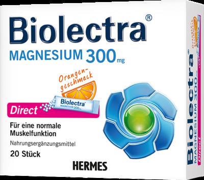 HERMES Arzneimittel GmbH Biolectra Magnesium Direct OrangePellets Beutel 300 mg Magnesium pro Beutel Biolectra MAGNESIUM Direct ist als diätetisches Lebensmittel sowohl zur Deckung der täglichen Magnesium-Versorgung bei erhöhtem Bedarf (z.B bei intensiver Muskelanstrengung) als auch zur besonderen Ernährung bei Diabetes mellitus im Rahmen eines Diätplanes sowie bei kalorienarmer Ernährung geeignet. Biolectra Magnesium wirkt schnell - Die Micro-Pellets lösen sich in Sekundenschnelle direkt im Mun