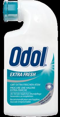 GlaxoSmithKline Consumer Healthcare Odol Mundwasser extra frisch  Odol Extra Frisch, die besonders erfrischende Odol Variante mit einer extra Portion an Minzölen. Auch Odol Extra Frisch wirkt da, wo die Zahnbürste nicht hinkommt und bekämpft so schlechten Atem. Der angenehme Geschmack erfrischt sofort und dein Atem wird anhaltend rein.  Für den extra Frische-Kick – auch für zwischendurch.  Wie wirkt Odol Extrafrisch? Die spezielle Rezeptur von Odol Extra Frisch liefert eine extra Portion an A