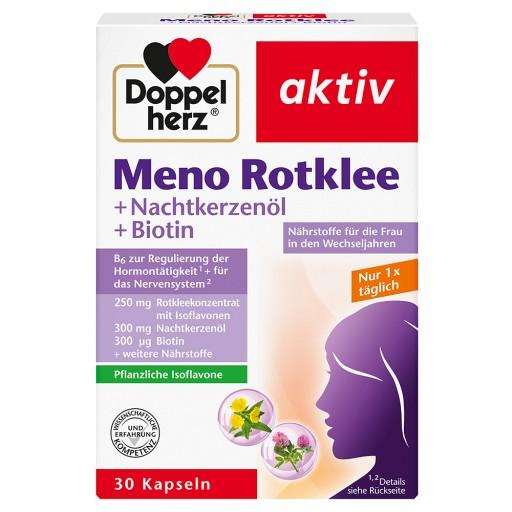 Queisser Pharma GmbH & Co. KG Doppelherz Meno Rotklee + Nachtkerzenöl + Biotin Kapseln   Nahrungsergänzungsmittel - Für das Wohlbefinden in den Wechseljahren - Biotin und Zink als Beitrag für den Erhalt normaler Haut - plus 50 mg Isoflavone aus Rotklee  Eine Kapsel enthält: Rotklee-Isoflavone 50mg aus Rotkleekonzentrat 250mg Nachtkerzenöl 300 mg Biotin 300 µg Zink5 mg Pantothensäure 2 mg Folsäure 200 µg Vitamin B6 2 mg Vitamin B1 1,4 mg Vitamin E 10 mg Magnesium 60 mg Verzehrsempfehlung: T