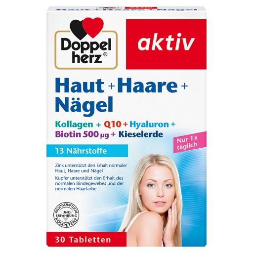 Queisser Pharma GmbH & Co. KG Doppelherz Haut + Haare + Nägel Tabletten Hyaluronsäure+Granatapfelextrakt+Kieselerde+Zink Nahrungsergänzungsmittel Lactosefrei Glutenfrei - Vitamin A + Biotin tragen zum Erhalt normaler Haut bei - Zink für als Beitrag für den Erhalt normaler Haare + Nägel - Mit 3 mg Hyaluronsäure und 100 mg Granatapfelextrakt Eine Tablette enthält: 100 mg Granatapfelextrakt, 50 mg Kieselerde, 3 mg Hyaluronsäure, 400 µg Vitamin A, 12 mg Vitamin E, 60 mg Vitamin C, 1,1 mg Vitamin B1,