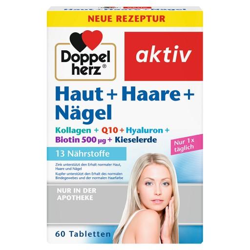 Queisser Pharma GmbH & Co. KG Doppelherz Haut + Haare + Nägel Tabletten  Hyaluronsäure+Granatapfelextrakt+Kieselerde+Zink Nahrungsergänzungsmittel Lactosefrei Glutenfrei  - Vitamin A + Biotin tragen zum Erhalt normaler Haut bei - Zink für als Beitrag für den Erhalt normaler Haare + Nägel - Mit 3 mg Hyaluronsäure und 100 mg Granatapfelextrakt Eine Tablette enthält: 100 mg Granatapfelextrakt, 50 mg Kieselerde, 3 mg Hyaluronsäure, 400 µg Vitamin A, 12 mg Vitamin E, 60 mg Vitamin C, 1,1 mg Vitami